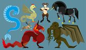 image of chinese unicorn  - Simple illustration of seven mythological creatures in the flat style - JPG