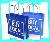 stock photo of local shop  - Buy Local Shopping Bags Promoting Buying Products Locally - JPG