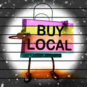stock photo of local shop  - Buy Local Shopping Bag Showing Buying Products Locally - JPG