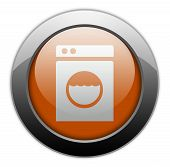 stock photo of laundromat  - Icon Button Pictogram Image Illustration with Laundromat symbol - JPG