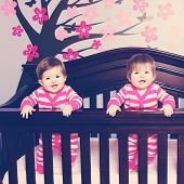 picture of identical twin girls  - Twins in crib - JPG