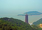 image of shan  - Photo of a gigantic chinese pagoda with sea and island in background stylized and filtered to look like an oil painting - JPG