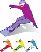 stock photo of snowboarding  - snowboarder man male snowboarding vector illustration simple - JPG