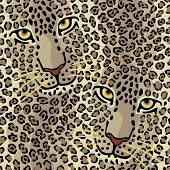 pic of ocelot  - Pattern of two spotted cats repeats seamlessly - JPG