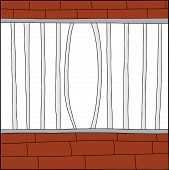 picture of stockade  - Bent bars of hand drawn cage with white background - JPG