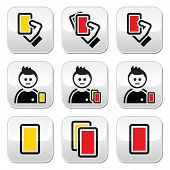 stock photo of offside  - Football cards vector black icons set isolated on white - JPG