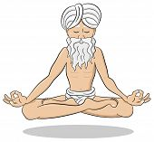 image of guru  - vector illustration of a floating and meditating yogi - JPG