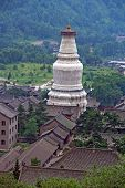 stock photo of shan  - Photo of the gigantic white stupa of Tayuan temple in Taihuai  - JPG