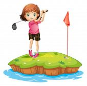 pic of ladies golf  - Illustration of an island with a girl playing golf on a white background - JPG