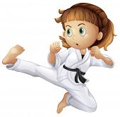 image of karate-do  - Illustration of a brave young girl doing karate on a white background - JPG