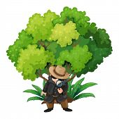 image of crime solving  - Illustration of a detective near the big tree on a white background - JPG