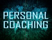 picture of personal assistant  - Personal Coaching text concept on green digital world map background - JPG