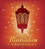 picture of ramadan mubarak card  - Ramadan greeting card template with lantern graphic and english message - JPG