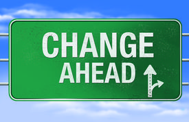 stock photo of road sign  - High resolution rendering of a road sign or highway sign with change ahead as the message - JPG