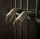 pic of jail  - Man in jail hands close - JPG
