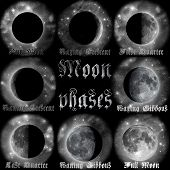 stock photo of wane  - Archaistic gothic moon calendar with phases names - JPG