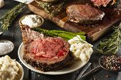 image of rib eye steak  - Homemade Grass Fed Prime Rib Roast with Herbs and Spices - JPG