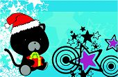 foto of panther  - panther baby cartoon xmas background in vector format very easy to edit - JPG