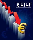 picture of stock market crash  - Illustration of financial graphs and Euro currency symbols crashing to the floor - JPG