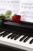 stock photo of grand piano  - Sheet music with rose  on piano - JPG