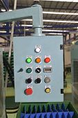stock photo of levers  - Control panel with buttons and levers in the factory - JPG