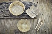 picture of handicrafts  - group of thai handicraft on wooden plate - JPG