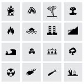 picture of hurricane clips  - Vector disaster icon set on grey background - JPG