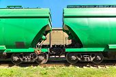 image of hoppers  - Grain hoppers on the railway track  - JPG