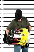 stock photo of stolen  - A Burglar in a Black Ski Mask - JPG