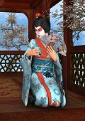 image of geisha  - 3D digital render of a beautiful geisha wearing traditional clothes sitting in a pavilion blue sky and cherry blossom background - JPG