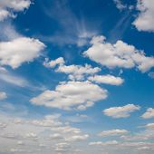 picture of stratus  - Blue sky with white clouds - JPG