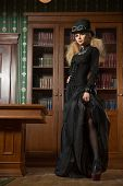 picture of gothic hair  - Vintage sexy girl next to the bookcase - JPG