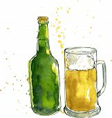 image of drawing beer  - beer bottle and cup - JPG