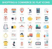 picture of electronic commerce  - Abstract vector set of colorful flat shopping and commerce icons - JPG