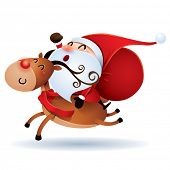 image of rudolph  - Santa Claus and Rudolph - JPG