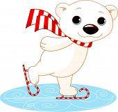 picture of cute bears  - Illustration of cute polar bear on ice skates - JPG