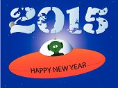 picture of flying saucer  - A cartoon style flying saucer with a happy new year message - JPG