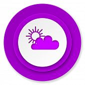 cloud icon, violet button, waether forecast sign  poster