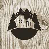 image of wood design  - Vintage styled eco house badge with tree on wooden texture background - JPG