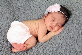 picture of girlie  - Newborn baby girl of Caucasian and Asian heritage - JPG