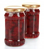 foto of jar jelly  - Jars of strawberry jam isolated on white - JPG
