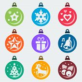 stock photo of winterberry  - Christmas balls vector icon set on grey background - JPG