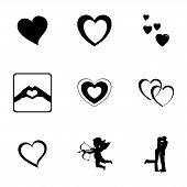 image of broken heart flower  - Vector black love icons set on white background - JPG