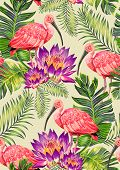 stock photo of scarlet ibis  - seamless tropical pattern with birds and flowers - JPG