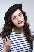 picture of french beret  - Young Woman with French Style Beret Hat and Striped T - JPG