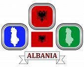 stock photo of albania  - map button and flag of Albania symbol on a white background - JPG