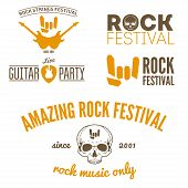 foto of guitar  - Set of vintage logo or logotype elements for musical performance - JPG