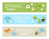 Постер, плакат: Banners with icons of animals and plants representing spring nature and freshness Illustration in
