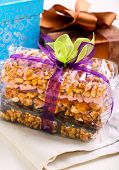 foto of crispy rice  - Puffed rice crispy bars wrapped as edible gift - JPG