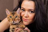 pic of bengal cat  - Beautiful woman with cat portrait - JPG